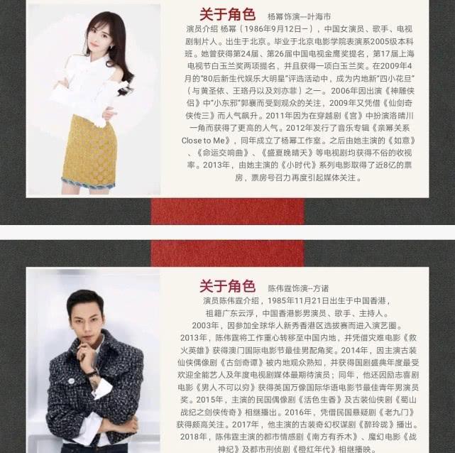 时隔七年再度合作,杨幂搭档陈伟霆出演《斛珠夫人》?
