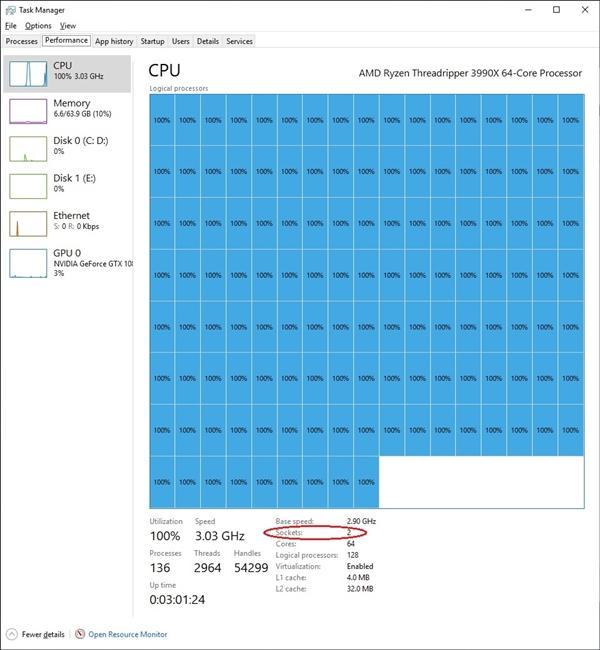 Win10竟然带不动AMD 64核心?的照片 - 3
