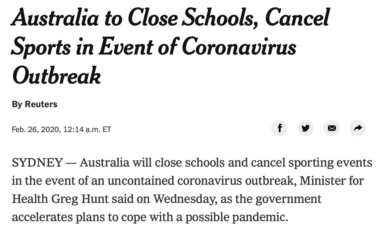 澳大利亚若疫情严重考虑停止体育赛事 亚冠将受影响