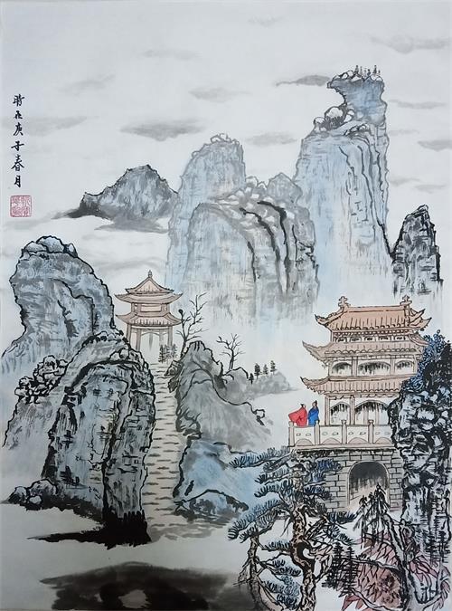 画家靳宝华抗击疫情画展网上亮相