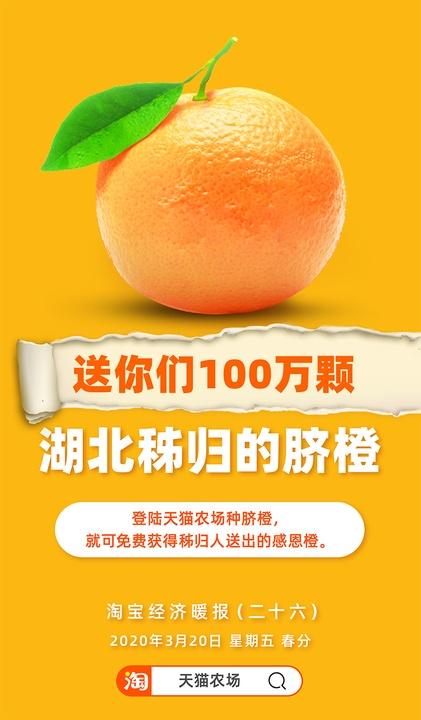 湖北农民感谢你!秭归县通过阿里巴巴赠出100万颗脐橙
