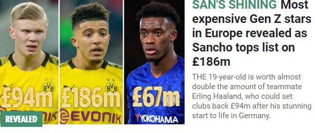 足坛最贵00后:桑乔价值近2亿镑 多特包揽冠亚军