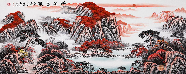 鸿运当头山水画|画家蒋伟笔绘中国红文化