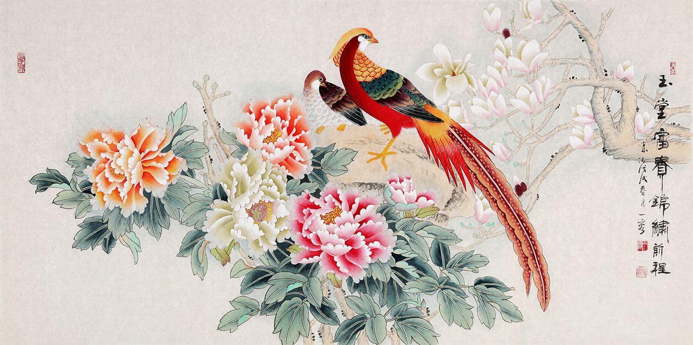客厅挂画花鸟画欣赏 名家手绘佳作展示