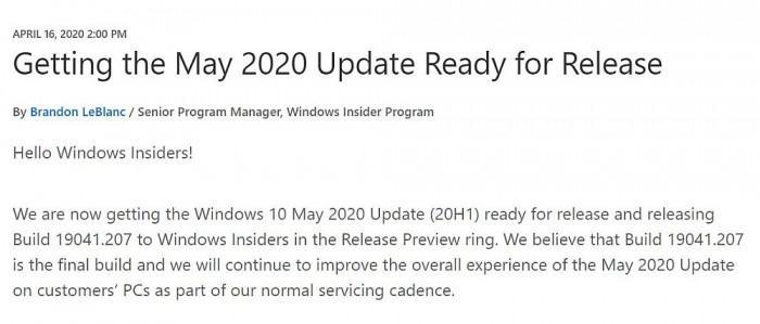 Win10下个功能更新正式命名May 2020 将于下月发布的照片 - 3