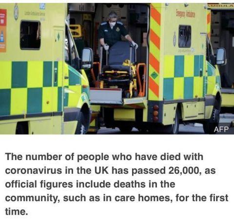 英国从新统计新冠死亡病例,之前统计