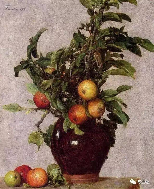 vase with apples and foliage