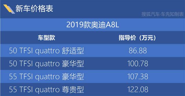 2019款奥迪A8L上市 售86.88-122.08万元