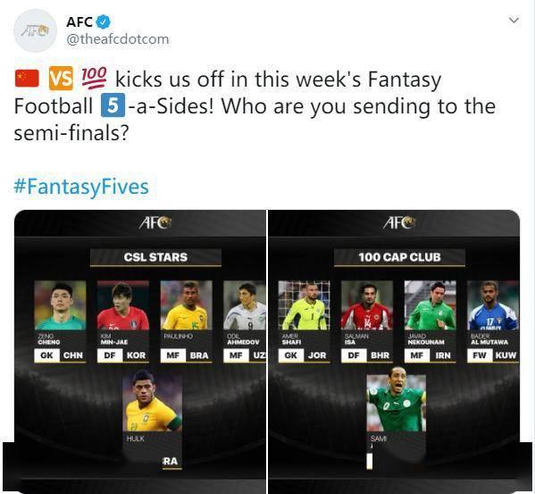 亚足联评中超五人制明星队阵容,仅一名中国球