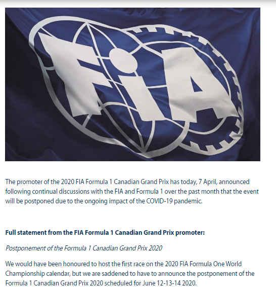 F1加拿大站延期 9站受影响新赛季七月前难揭幕