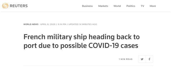 """法国唯一现役航母""""中招""""?""""戴高乐""""航母上有舰员出现感染新冠病毒相关症状"""