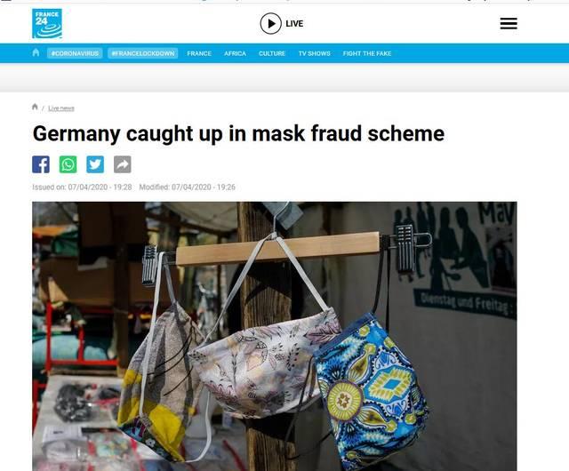 """外媒曝德国遇上""""价值千万欧元口罩诈骗案"""","""