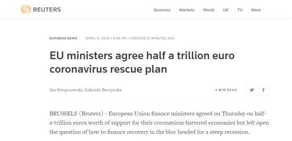 <strong>应对疫情,欧盟成员国财长就5000亿欧元援助方案</strong>