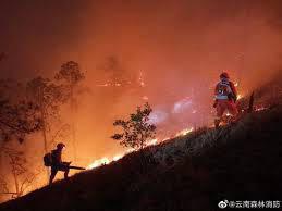 云南丽江发生森林火灾 上千人参与扑救