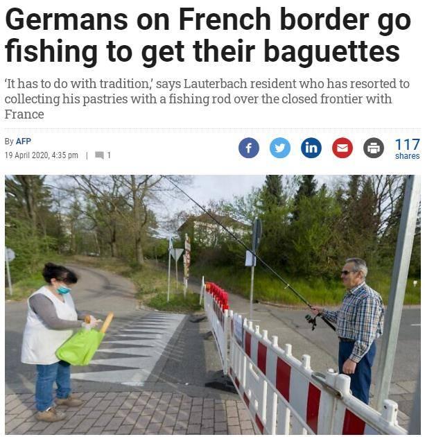 用钓竿连接两国友谊 德男子疫情期间坚持购买法国面包