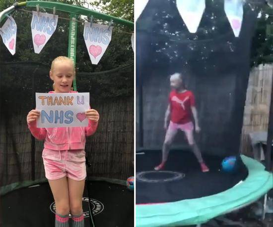 英国9岁女孩在蹦床跳24小时 筹善款捐给医疗系统