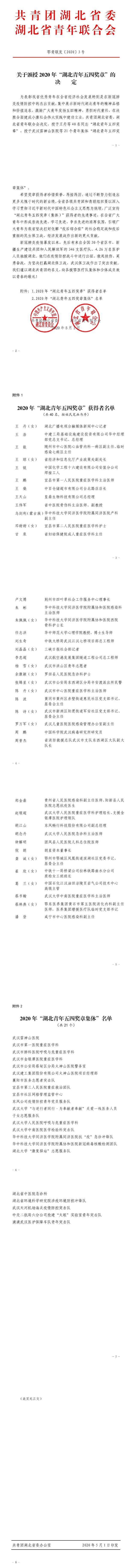 """""""湖北青年五四奖章集体""""名单公布,雷神山医"""
