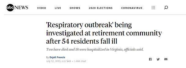 美国去年7月曾暴发不明原因呼吸系统致命性疾病