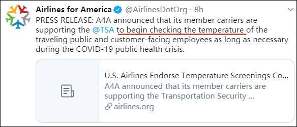 确诊超130万了,美航空业:支持测体温